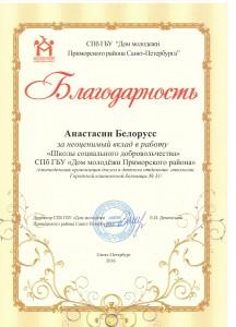 Школа социального добровольчества   Белорусс Анастасия 211 группа